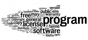 Wordle of the 100 most used words in the Gnu GPL v.1.
