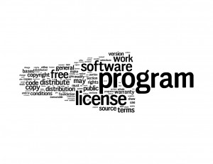 Wordle of the 100 most used words in the Gnu GPL v.2.