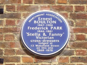 Plaque to Stella and Fanny, aka Ernest Boulton and Frederick Park, Wakefield Street, London W1.