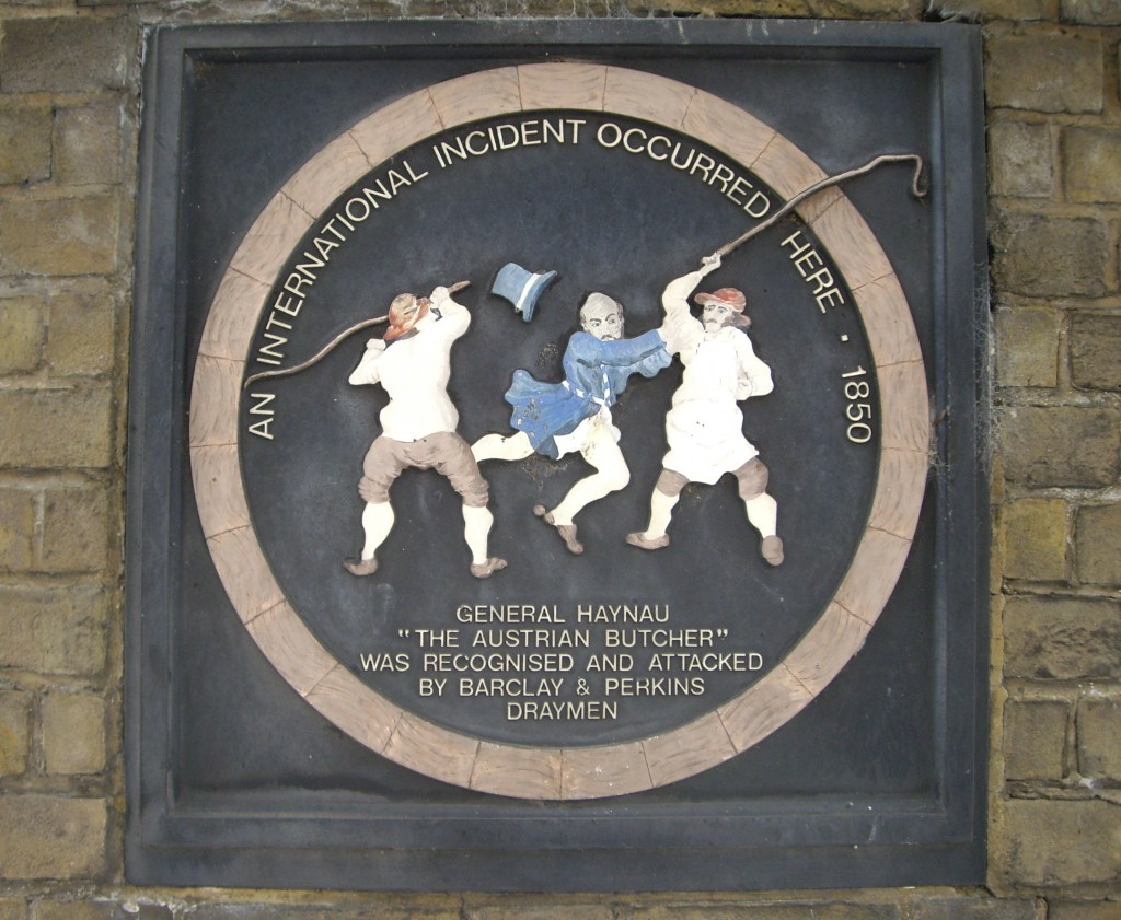 Plaque commemorating the attack on General Haynau by the draymen of Barclay and Perkins Brewery, Southwark, 1850